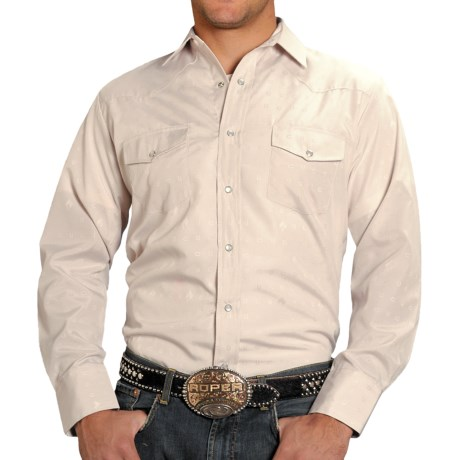 Roper Classic Tone-on-Tone Dobby Shirt - Snap Front, Long Sleeve (For Men) in White