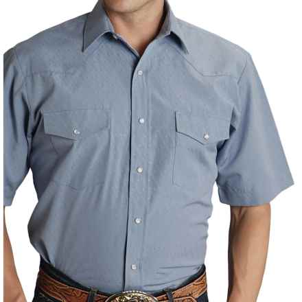 Roper Classic Tone-on-Tone Shirt - Snap Front, Short Sleeve (For Men and Big Men) in Blue Geo - Closeouts