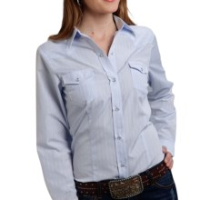Roper Classic Tone-on-Tone Striped Shirt - Snap Front, Long Sleeve (For Women) in Blue - Overstock