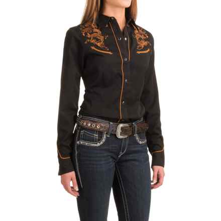 Roper Classic Tooling Embroidered Shirt - Snap Front, Long Sleeve (For Women) in Black - Closeouts