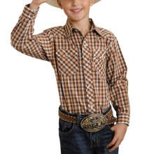 Roper Classic Western Plaid Shirt - Long Sleeve (For Boys) in Brown - Closeouts