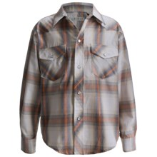 Roper Classic Western Plaid Shirt - Long Sleeve (For Boys) in Orange - Closeouts