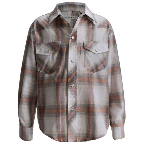 Roper Classic Western Plaid Shirt - Long Sleeve (For Boys) in Orange