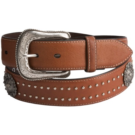 Roper Concho Detail Leather Belt (For Men) in Brown