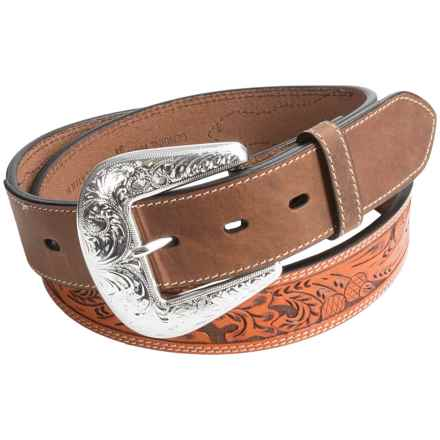 Roper Contrast-Stitch Leather Belt (For Men) in Tan - Closeouts