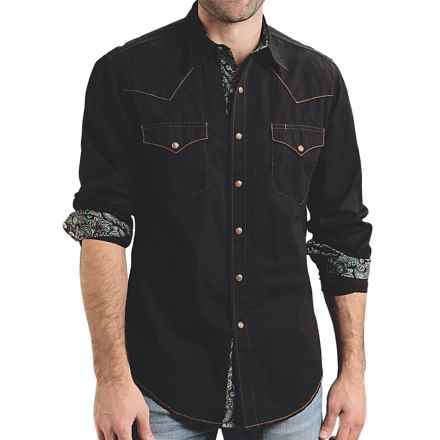 Roper Contrast-Stitch Western Shirt - Snap Front, Long Sleeve (For Men) in Black - Closeouts
