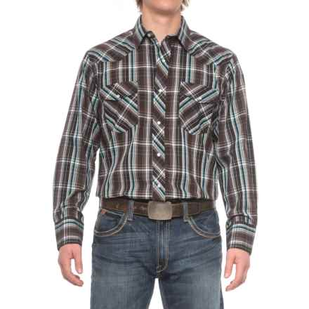 Roper Cotton-Blend Western Shirt - Snap Front, Long Sleeve (For Men) in Black/Turquoise - Closeouts