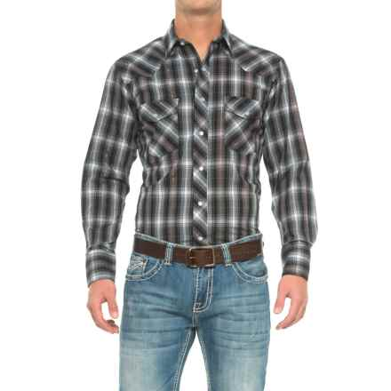 Roper Cotton-Blend Western Shirt - Snap Front, Long Sleeve (For Men) in Black/White/Silver - Closeouts