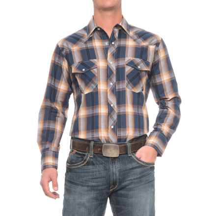 Roper Cotton-Blend Western Shirt - Snap Front, Long Sleeve (For Men) in Blue/Gold - Closeouts