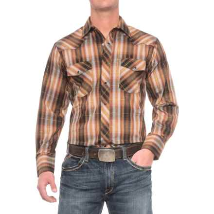 Roper Cotton-Blend Western Shirt - Snap Front, Long Sleeve (For Men) in Brown/Black/Gold - Closeouts
