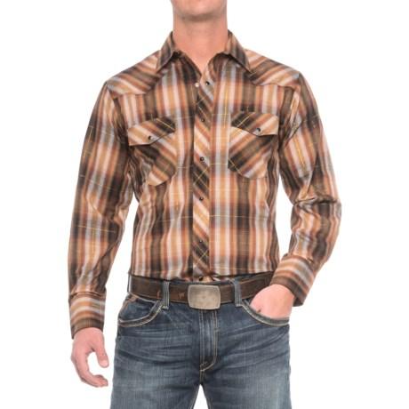 Roper Cotton-Blend Western Shirt - Snap Front, Long Sleeve (For Men) in Brown/Black/Gold