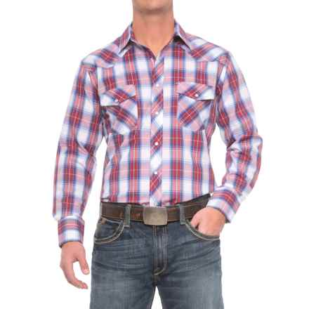 Roper Cotton-Blend Western Shirt - Snap Front, Long Sleeve (For Men) in Royal/Red/White - Closeouts