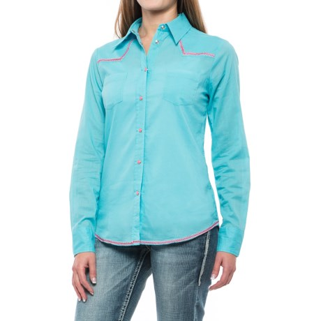 Roper Cotton Lawn Western Shirt - Snap Front, Long Sleeve (For Women) in Turquoise