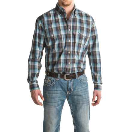 Roper Cotton Plaid Shirt - Button Front, Long Sleeve (For Men and Big Men) in Blue Cold Mountain - Closeouts