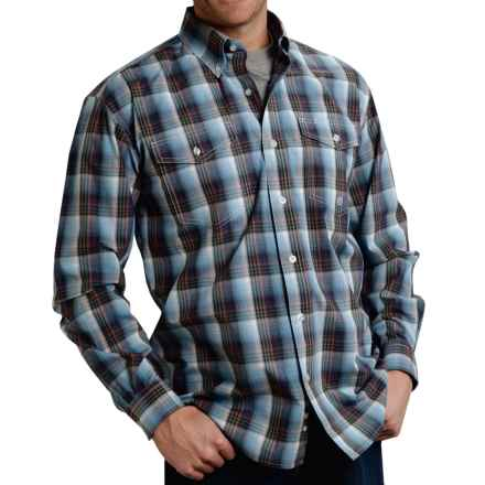 Roper Cotton Plaid Shirt - Button Front, Long Sleeve (For Men and Big Men) in Blue Indigo Fire - Closeouts