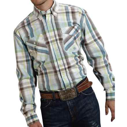 Roper Cotton Plaid Shirt - Button Front, Long Sleeve (For Men and Big Men) in Blue Lemon Grass - Closeouts