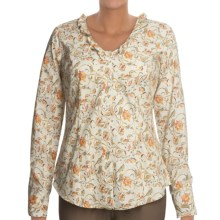 Roper Cotton Print Shirt - Ruffled Neck, Long Sleeve (For Women) in White - Closeouts