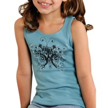 Roper Cotton Rib Screen Print Tank (For Girls) in Blue - Closeouts