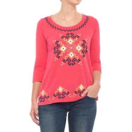 Roper Cotton Rich Embroidered Shirt - 3/4 Sleeve (For Women) in Coral - Closeouts