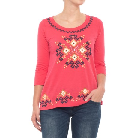 Roper Cotton Rich Embroidered Shirt - 3/4 Sleeve (For Women) in Coral