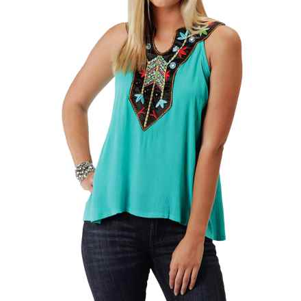 Roper Crepe Halter Neck Tank Top (For Women) in Turquoise - Closeouts