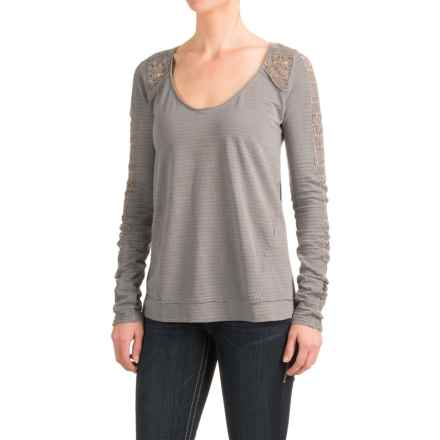 Roper Crocheted and Slub-Knit Shirt - Long Sleeve (For Women) in Grey - Closeouts
