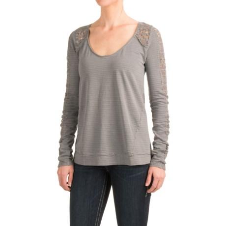 Roper Crocheted and Slub-Knit Shirt - Long Sleeve (For Women) in Grey