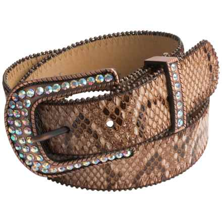 Roper Croco-Print Leather Belt (For Women) in Lightpink - Closeouts