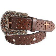 Roper Cross Conchos Belt - Leather (For Women) in Brown - Closeouts