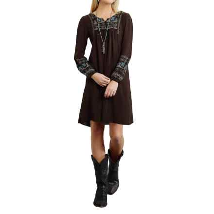 Roper Cross-Stitched Peasant Dress - Long Sleeve (For Women) in Brown - Closeouts