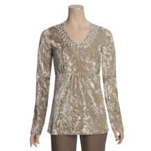 Roper Crushed Velvet Shirt - Studded V-Neck, Long Sleeve (For Women) in Brown - Closeouts