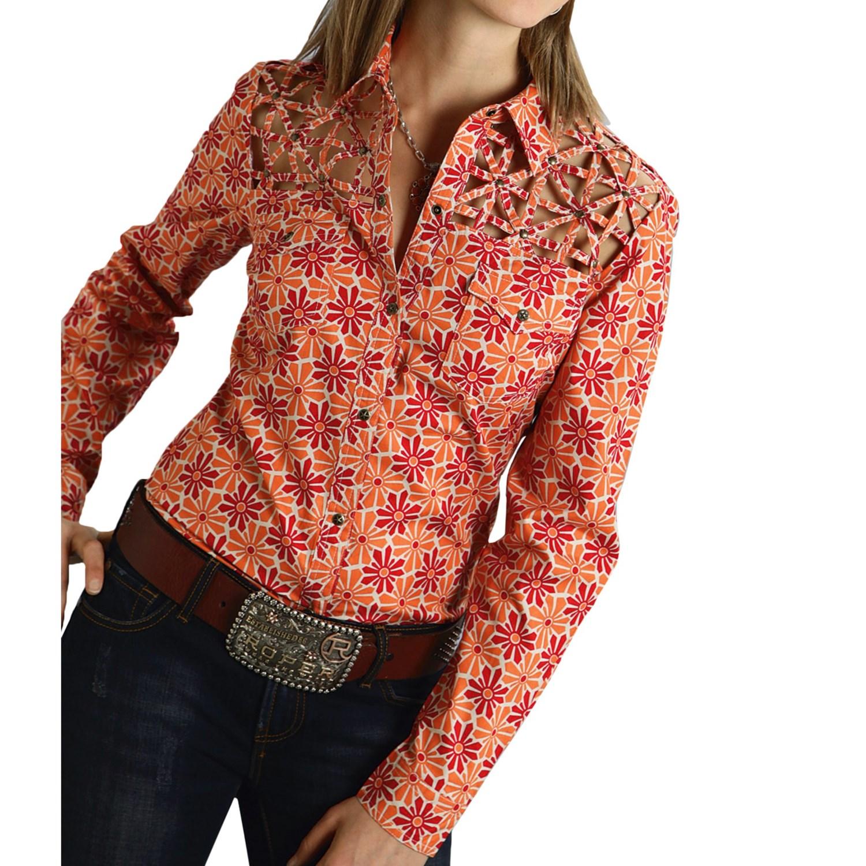 Roper daisy lattice shirt for women save 48 for Long sleeve poplin shirt