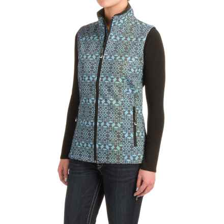 Roper Diamond Aztec Soft Shell Vest (For Women) in Turquoise - Closeouts