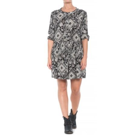 Roper Diamond Floral Print Dress - 3/4 Sleeve (For Women) in Black
