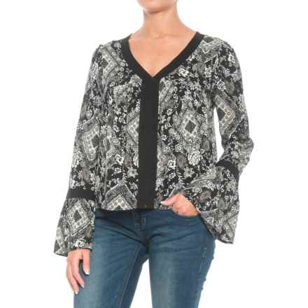 Roper Diamond Floral Print Shirt - Long Sleeve (For Women) in Black - Closeouts