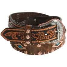 Roper Distressed Leather Belt (For Men) in Brown/Natural - Closeouts