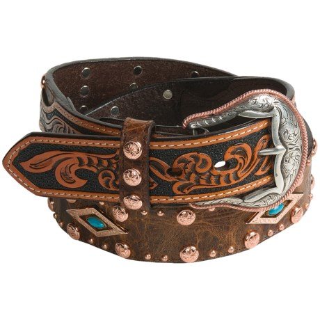 Roper Distressed Leather Belt (For Men) in Brown/Natural