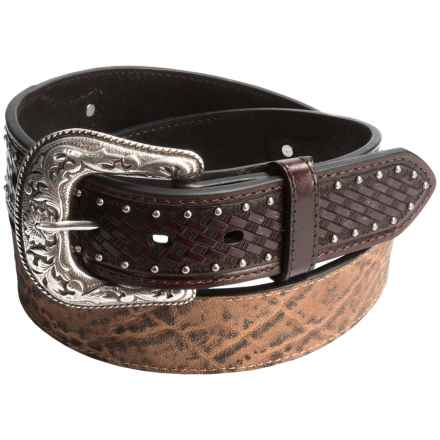 Roper Distressed Leather Belt (For Men) in Brown - Closeouts