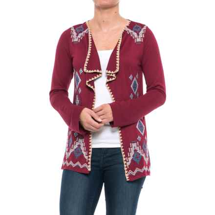 Roper Embroidered Cardigan Shirt - Long Sleeve (For Women) in Wine - Closeouts