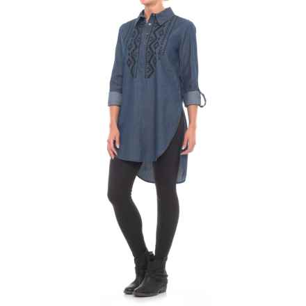 Roper Embroidered Denim Tunic Shirt - Long Sleeve (For Women) in Stone Washed - Closeouts