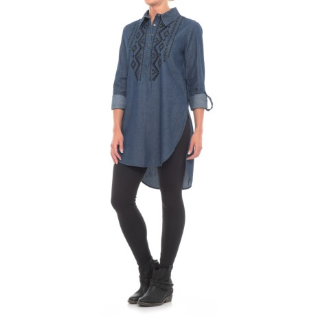 Roper Embroidered Denim Tunic Shirt - Long Sleeve (For Women) in Stone Washed