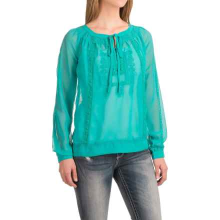 Roper Embroidered Georgette Peasant Top - Long Sleeve (For Women) in Turquoise - Closeouts