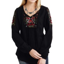 Roper Embroidered Twill Blouse - Long Sleeve (For Women) in Black - Overstock