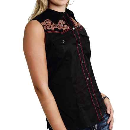 Roper Embroidered Western Shirt - Snap Front, Sleeveless (For Women) in Black - Overstock