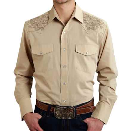 Roper Embroidered Yoke Western Shirt - Snap Front, Long Sleeve (For Men) in Brown - Closeouts