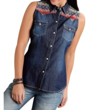 Roper Five Star American Lore Aztec-Print Western Shirt - Snap Front, Sleeveless (For Women) in Denim Blue - Closeouts