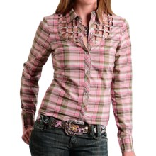 Roper Five Star Autumn Sunset Plaid Western Shirt - Snap Front, Long Sleeve (For Women) in Pink - Closeouts