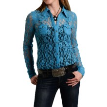 Roper Five Star Lace Shirt - Button Front, Long Sleeve (For Women) in Blue American Legend - Closeouts