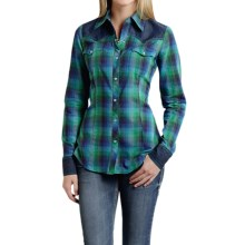 Roper Five Star Ombre-Plaid Western Shirt - Snap Front, Long Sleeve (For Women) in Green - Overstock