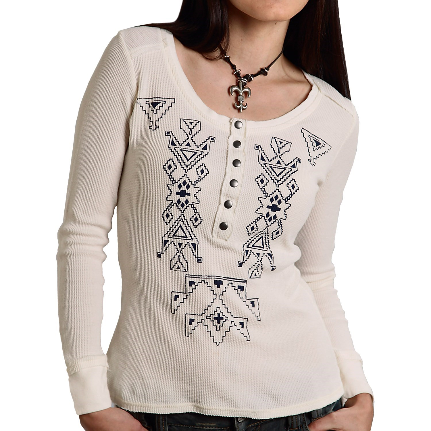Roper five star printed knit thermal henley shirt long for Thermal shirt for women